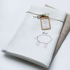 white linen | White Linen Sheep Tea Towel by charlottemacey on Etsy