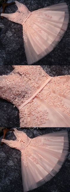 A-Line V-Neck Pearl Pink Tulle Homecoming Dress with Sash Appliques Pearls - Prom Dresses Design Short Graduation Dresses, Cheap Homecoming Dresses, Cheap Evening Dresses, Wedding Dresses, Cheap Dress, Trendy Dresses, Short Dresses, Formal Dresses, Pink Cocktail Dress