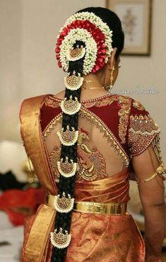 Hair Styles Wedding Indian Blouse Designs 31 Ideas For 2019 South Indian Wedding Hairstyles, Bridal Hairstyle Indian Wedding, Bridal Hair Buns, Bridal Braids, Bridal Hairdo, Hair Wedding, Wedding Dress, Wedding Wear, Saree Hairstyles