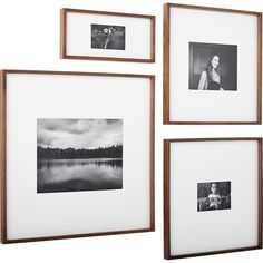 Shop gallery walnut picture frames. Exhibit your favorite photos gallery-style. Creating a display of modern proportions, oversized white mat floats your photos within a sleek frame of warm walnut.
