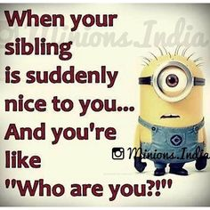 When Your Sibling Is Suddenly Nice To You minion minions minion quotes minion quotes and sayings