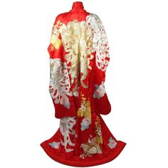 Preowned Rare Museum Quality Red Silk Embroidered Kimono W. Ivory &... ($6,295) ❤ liked on Polyvore featuring evening gowns and white