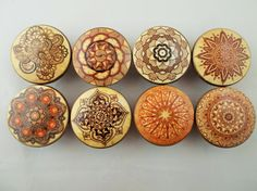 Set of 8 Henna Ornaments Oversized Cabinet Knobs by ReadinginRags