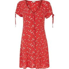 River Island Red ditsy print button through dress ($23) ❤ liked on Polyvore featuring dresses, sale, vneck dress, sleeve dress, vintage looking dresses, red sleeve dress e river island