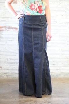 dark long denim skirt with panels that flare at the bottom-front view