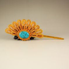 Gilt Gold Sterling Silver Inlay Turquoise Hairpin : Lot 0321