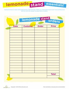 Worksheets: Lemonade Stand Printables