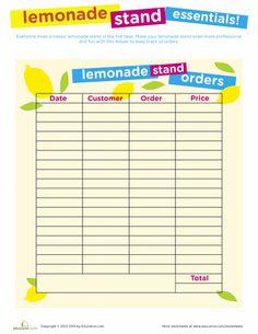 Worksheets: Lemonade Stand Printables