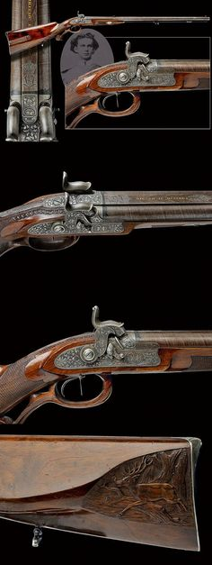 A rare double-barrelled percussion shotgun from the property of King Ludwig II of Bavaria, 19th century.
