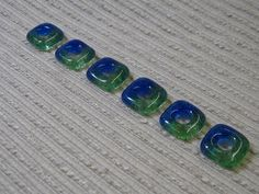 Handmade SQUARE Fused Glass Beads / Set of 6 /  Blue by cyvonneh, $9.00