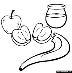 honey apple rosh hashannah coloring page