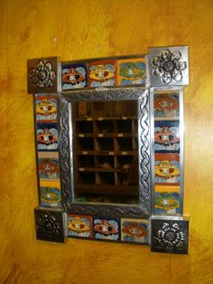 Talavera Tin Mirror #1-Mexican Folk Art-11x13 in-Silver-Tile-Day of the Dead