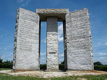 The Georgia Guidestones is a large granite monument in Elbert County, Georgia, USA. A message clearly conveying a set of ten guidelines is inscribed on the structure in eight modern languages, and a shorter message is inscribed at the top of the structure in four ancient languages' scripts: Babylonian, Classical Greek, Sanskrit, and Egyptian hieroglyphs.