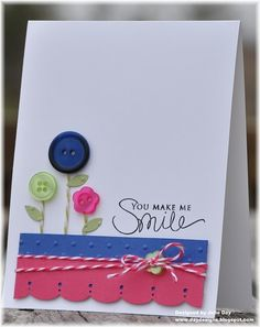 card with button flowers!