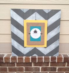 Chevron Wood Frame Grey Yellow by SallyandSues on Etsy, $65.00