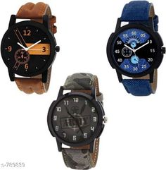 Checkout this latest Analog Watches Product Name: *Trendy  Men's Leather Watch (Pack Of 3)* Strap Material: Leather Dial Shape: Round Display Type: Analog Light: No Power Source: Battery Powered Multipack: 3 Sizes:  Free Size Country of Origin: India Easy Returns Available In Case Of Any Issue   Catalog Rating: ★4 (2421)  Catalog Name: Stylish Men'S Leather Watches Combo Vol 2 CatalogID_90417 C65-SC1232 Code: 243-789839-786