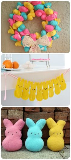 peep wreath. cute! i would have to find a  way to cover the white sides though.....hmmmm maybe some glitter???