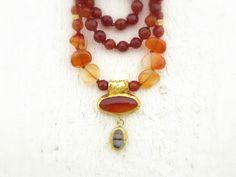 Carnelian Necklace  24k Solid Gold Necklace  Gemstones by Omiya.