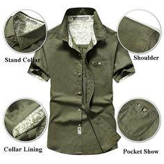 a06c1a6c0a4 Designer AFSJEEP Outdoor Casual Linen Short Sleeve Chest Pockets Cargo  Dress Shirts for Men - NewChic