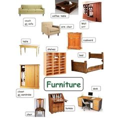 Learn Furniture Vocabulary in English. English Grammar Rules, English Language Learning, English Words, English Vocabulary, Teaching English, English Class, English Lessons, Learn English, Vocabulary Flash Cards