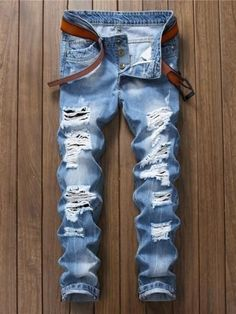 655409662a2 Light Blue Slim Fit Casual Men s Fashion Jeans Mid Waist Hole  Jeans Stylish  Mens Fashion