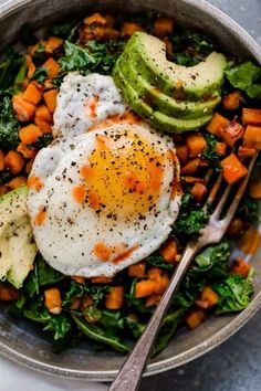 Overhead shot of Kale and Sweet Potato Sauté in a bowl with a fried egg on top and avocado slices. Eggs Kale and Sweet Potato Sauté Kale Recipes, Plant Based Recipes, Real Food Recipes, Vegetarian Recipes, Cooking Recipes, Healthy Recipes, Cooking Time, Fried Egg Recipes, Sweet Potato Recipes Healthy