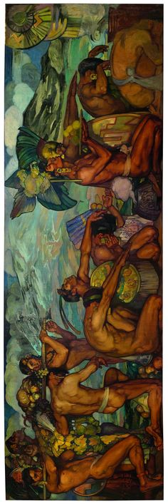 """""""Nuestros Dioses"""" (mural inconcluso) por Saturnino Herrán Guinchard, 1918."""