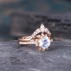 Moonstone Engagement Ring Rose Gold Bridal Sets Diamond Half Eternity Delicate Band Women Round Cut Anniversary Halo * FREE ENGRAVING! * CUSTOM ORDER * RUSH ORDER * 30-DAY FREE WARRANTY! * INSTALLMENT PLAN * RING SET CAN BE MADE! ITEM INFORMATION Metal Type – Solid 14k Rose Gold Band