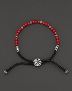 John Hardy Men's Sterling Silver Batu Bracelet with Reconstructed Coral Beads | Bloomingdale's