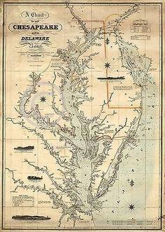 1862 NAUTICAL CHART MAP CHESAPEAKE DELAWARE BAY vintage historical