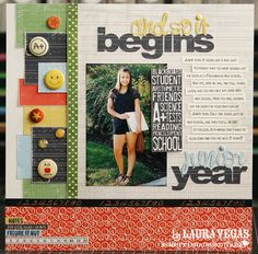 10 Single Photo Back-to-School Scrapbook Pages If you managed to get just one photo at the start of school, or you have an extra special photo you'd like to showcase, here are 10 back to school layout ideas to give you some inspiration. Senior Scrapbook Ideas, Graduation Scrapbook, School Scrapbook Layouts, Scrapbook Sketches, Scrapbooking Layouts, Wedding Scrapbook, Digital Scrapbooking, Scrapbook Cover, Kids Scrapbook