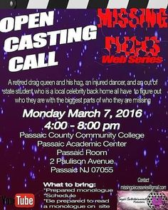 Missed the first audition for the Web series? Well you're in luck because @seysiient is hosting auditions for (@mpwebtv) #MissingPiecesSeries on March 7th at the Passaic County Community College of Passaic in the Passaic room @pccc. Follow the #MissingPiecesSeries on the gram at @mpwebtv! #Seysii #SeysiiEnt #SeysiiShow #SeysiiEntertainment #comingsoon #actresslife #actress #youbettawerk #werk #YouTube #wayupifeelblessed #webseries #auditions #castingcall #opencastingcall #showrunner…