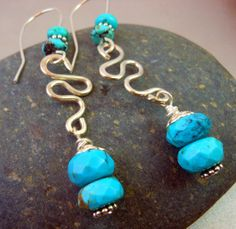 Turquoise Long Earrings Sterling Silver by keywestdesigning, $28.00