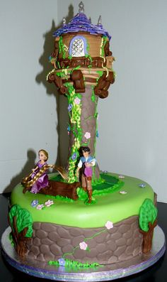 Alexis wants a Tangled cake for her birthday party.  Maybe something like this?