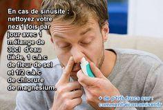 Soigner une sinusite, c'est se moucher beaucoup. Mais c'est aussi, et surtout, nettoyer son nez de tous ses microbes. Voici un remède 100% naturel et très efficace à base de chlorure de magnésium.  Découvrez l'astuce ici : http://www.comment-economiser.fr/chlorure-magnesium-sinusites.html?utm_content=bufferb5f29&utm_medium=social&utm_source=pinterest.com&utm_campaign=buffer
