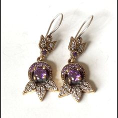 "925 Sterling Silver Amethyst  Earrings Beautiful elegant 925 Sterling Silver and bronze, Amethyst Topaz Earrings  6.05 Grams, Head size is 0.55"". Turkish style Jewelry Earrings"