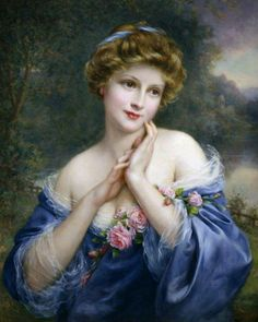 Dipinto di donna con abito blu e rose ad opera di Francois Martin Kavel.  --  Painting of woman with blue dress and roses by Francois Martin Kavel.