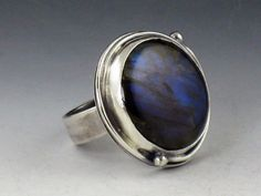 Large Round Labradorite Ring by MicheleGradyDesigns on Etsy