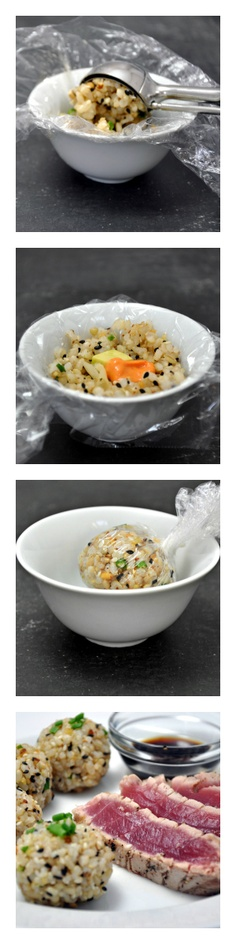 Brown Rice Sushi Balls @PinchandSwirl.com.com  I wonder if you could do this with quinoa