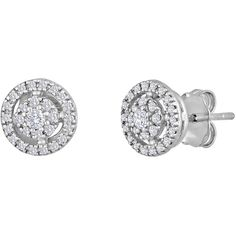 Sterling Silver 1/4ct TDW Diamond Round Stud Earrings ($164) ❤ liked on Polyvore