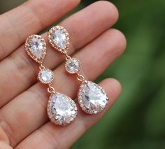 Hey, I found this really awesome Etsy listing at https://www.etsy.com/listing/194143521/bridal-rose-gold-earring-pink-gold