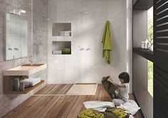 Houtlook vloer badkamer