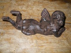 Small Cast Iron Laying Fairy Garden Statue Angel Cherub Pixie Elf Rustic BROWN