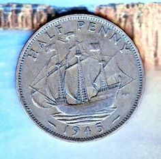 World Coins 1945 United Kingdom England Half Penny Coin Free S/h & InsUSA 12/31