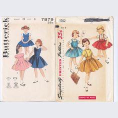 Vintage 2 Sewing Patterns Girls' Sz 6 Dress by FancyNancyVintage, $6.00