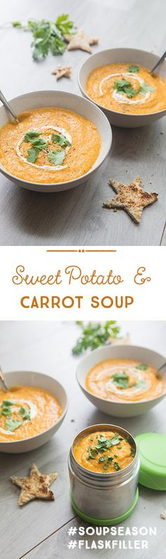 I always say that soup makes for an easy and healthy lunchbox idea but it is also perfect to use as your baby's first foods (just reduce the amount of stock). It is so warming and satisfying on a chilly day, and you can simply freeze and defrost it when needed. It's so stress-free. This particular flavour has become a go-to recipe for my girls lunchbox. I promise that you will adore the sweet combination of sweet potato and carrot. Easy Family Meals, Family Recipes, Meals For One, Quick Easy Meals, Sweet Potato Carrot Soup, Baby First Foods, Stress Free, Freeze, Carrots