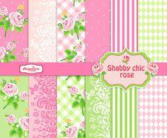 12 Papeles de Scrapbook shabby Chic Rose Digital. por AngelinaWorks
