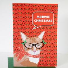 Ginger Cat with Glasses Christmas Card  Meowie by JayneyMac