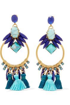 Shop on-sale Elizabeth Cole Tasseled burnished gold-plated, Swarovski crystal and glass stone earrings. Browse other discount designer Jewelry & more on The Most Fashionable Fashion Outlet, THE OUTNET.COM