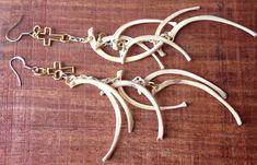 Rib bone earrings, real bone jewelry, Taxidermy jewelry